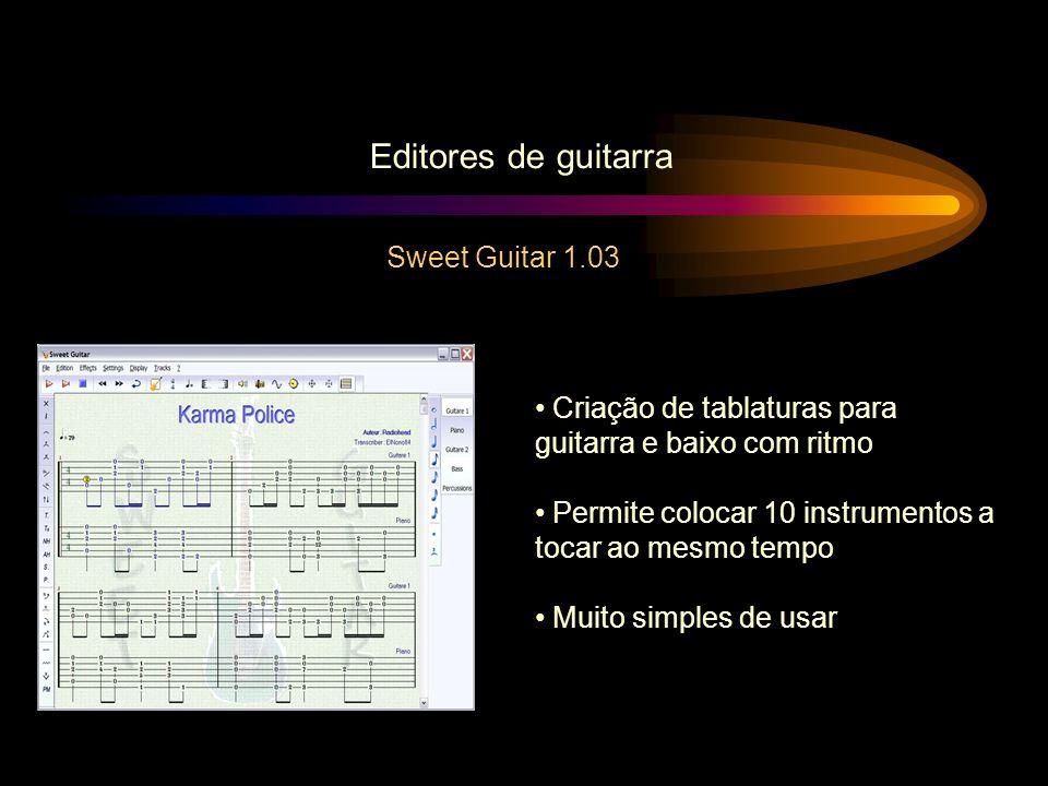 Editores de guitarra Sweet Guitar 1.03 Criação de tablaturas para