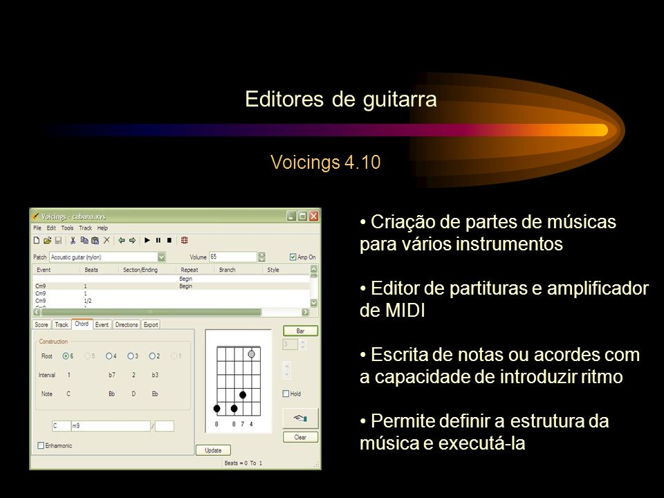 Editores de guitarra Voicings 4.10 Criação de partes de músicas