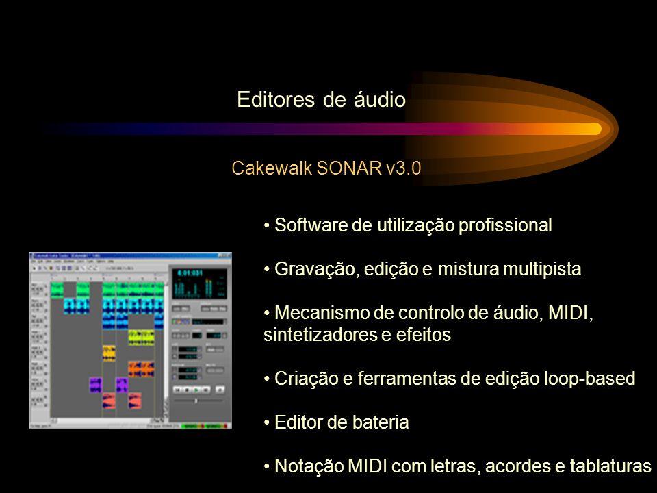 Editores de áudio Cakewalk SONAR v3.0