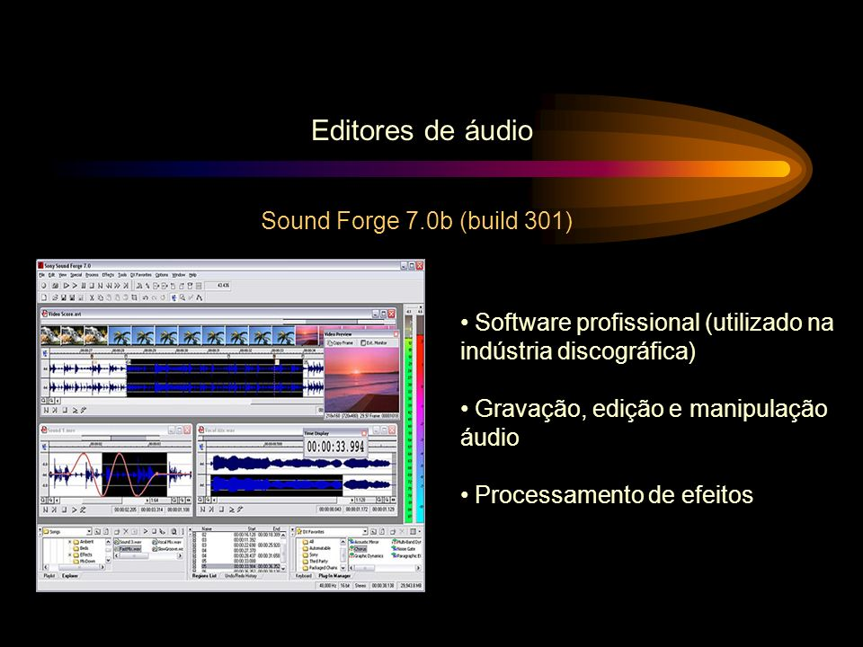 Editores de áudio Sound Forge 7.0b (build 301)