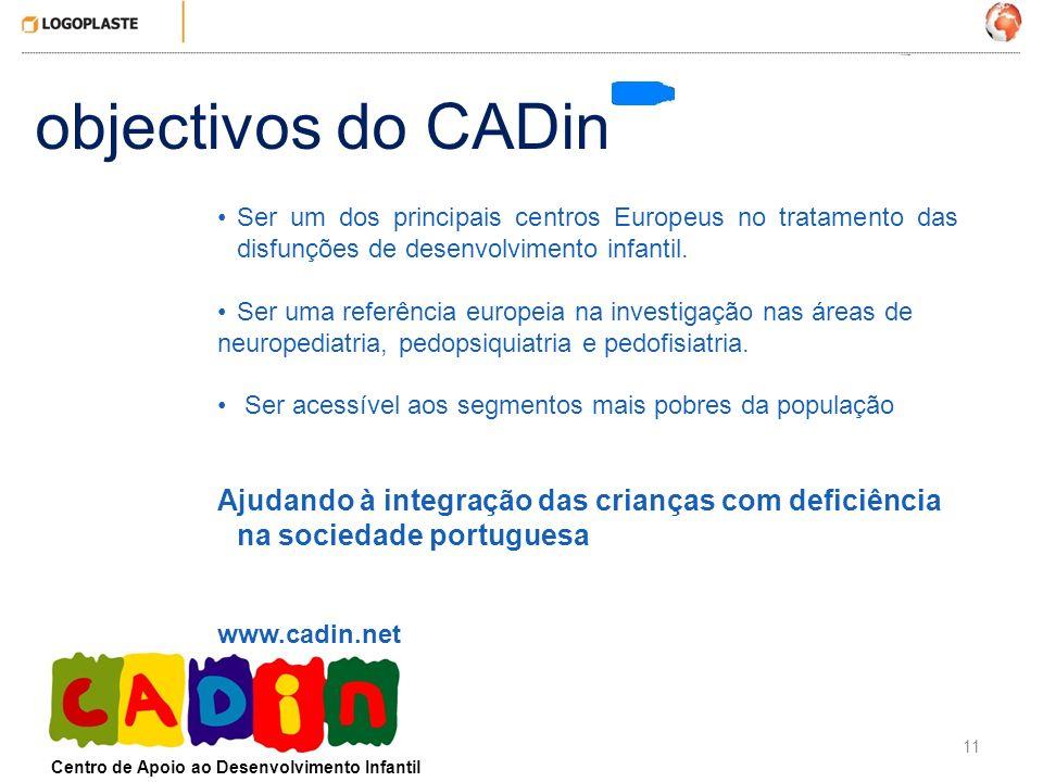 objectivos do CADin Ser um dos principais centros Europeus no tratamento das disfunções de desenvolvimento infantil.