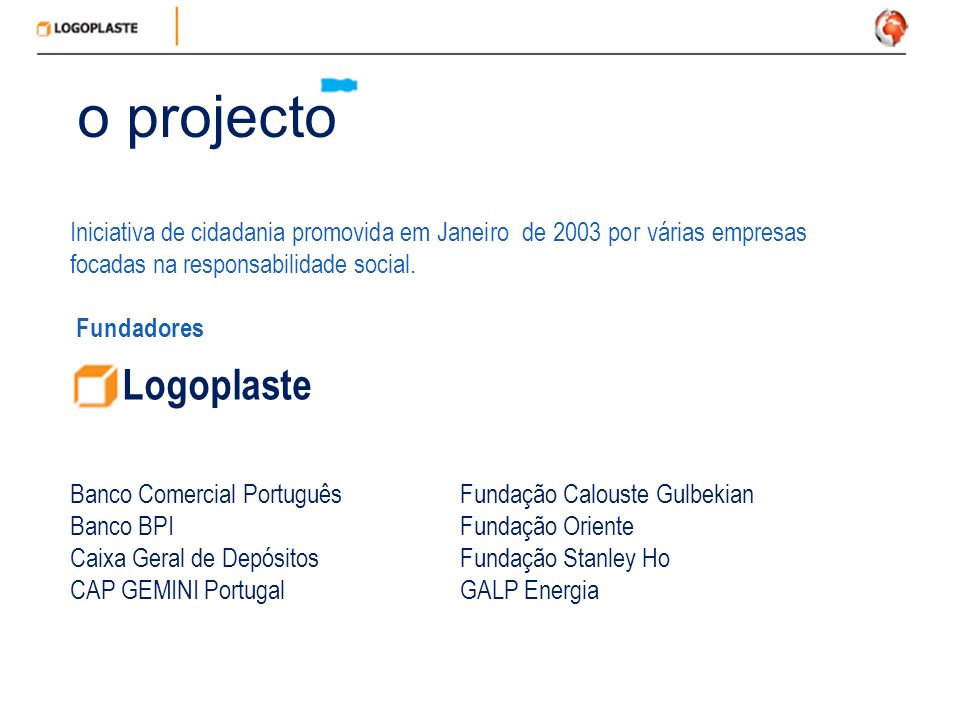 o projecto Iniciativa de cidadania promovida em Janeiro de 2003 por várias empresas focadas na responsabilidade social.