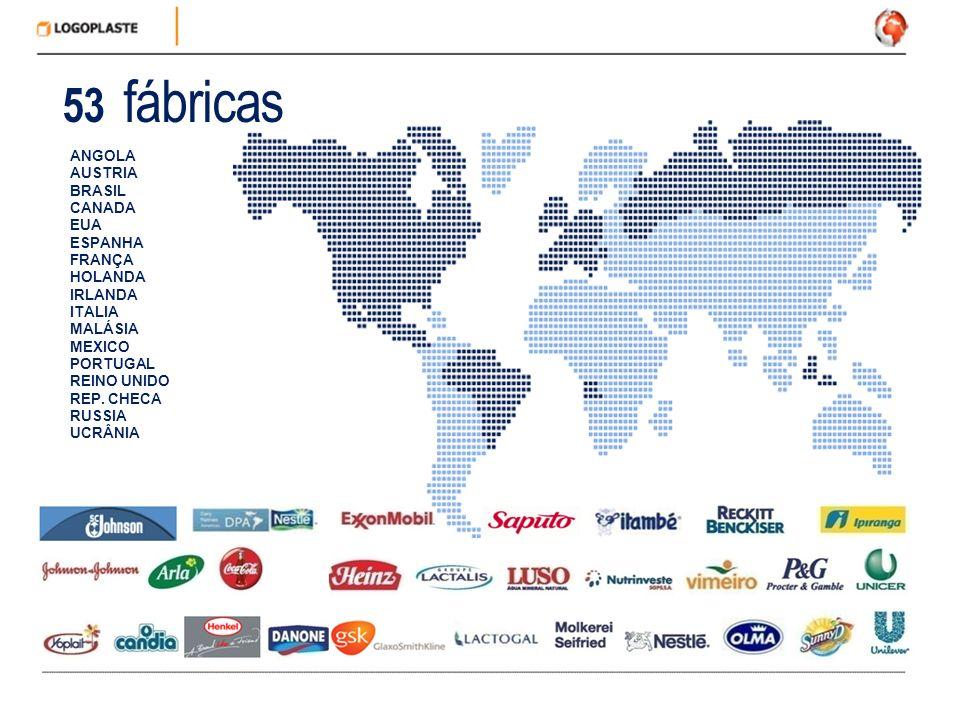53 fábricas ANGOLA AUSTRIA BRASIL CANADA EUA ESPANHA FRANÇA HOLANDA