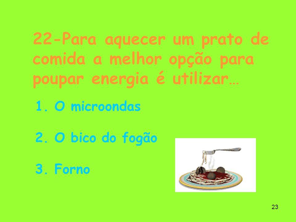 22-Para aquecer um prato de comida a melhor opção para poupar energia é utilizar…