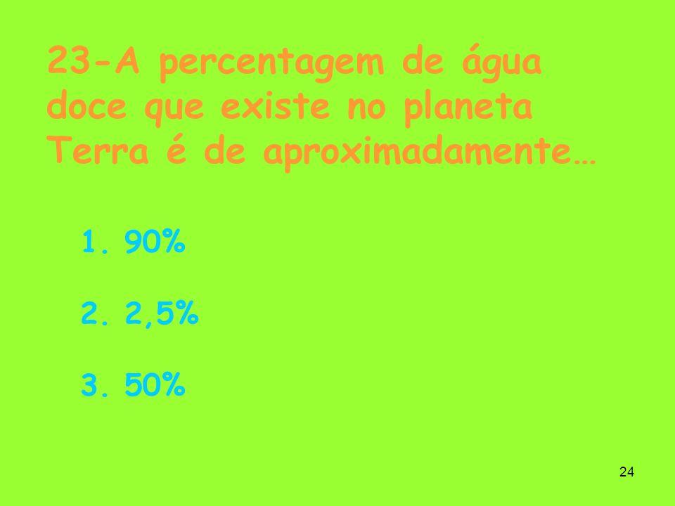 23-A percentagem de água doce que existe no planeta Terra é de aproximadamente…