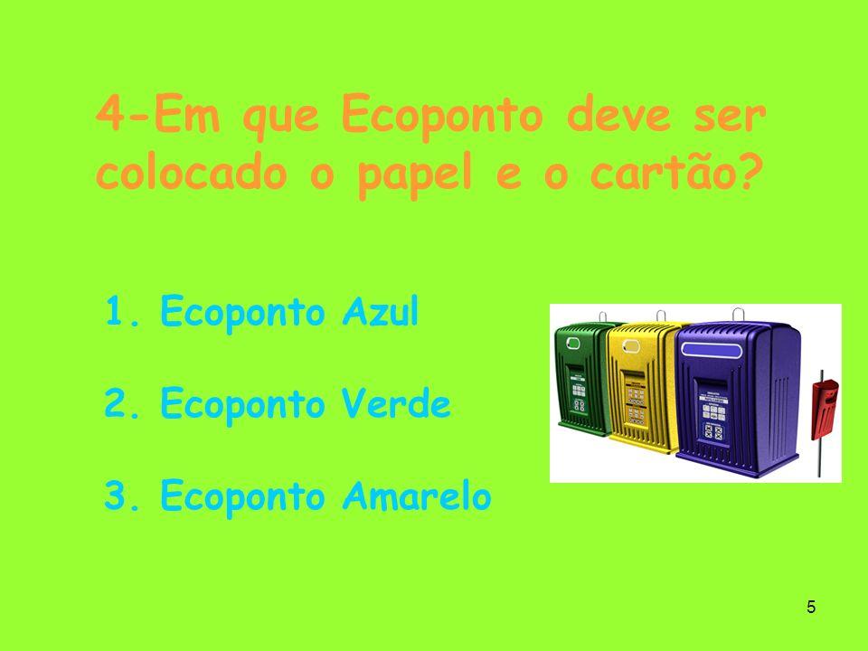 4-Em que Ecoponto deve ser colocado o papel e o cartão