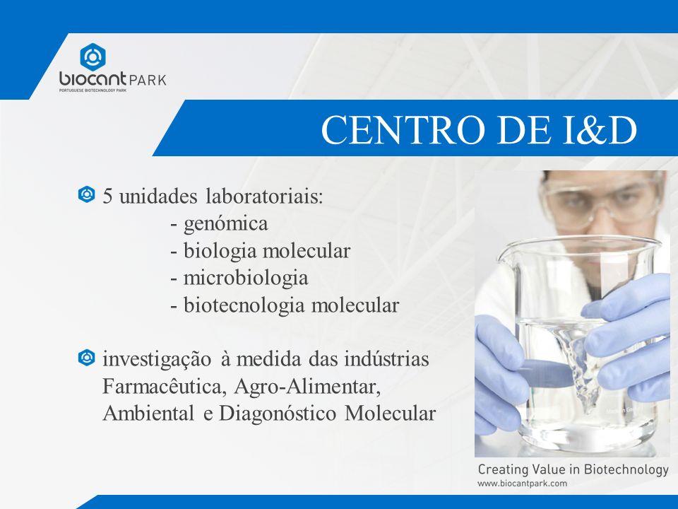 CENTRO DE I&D 5 unidades laboratoriais: - genómica