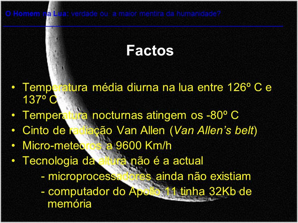 Factos Temperatura média diurna na lua entre 126º C e 137º C