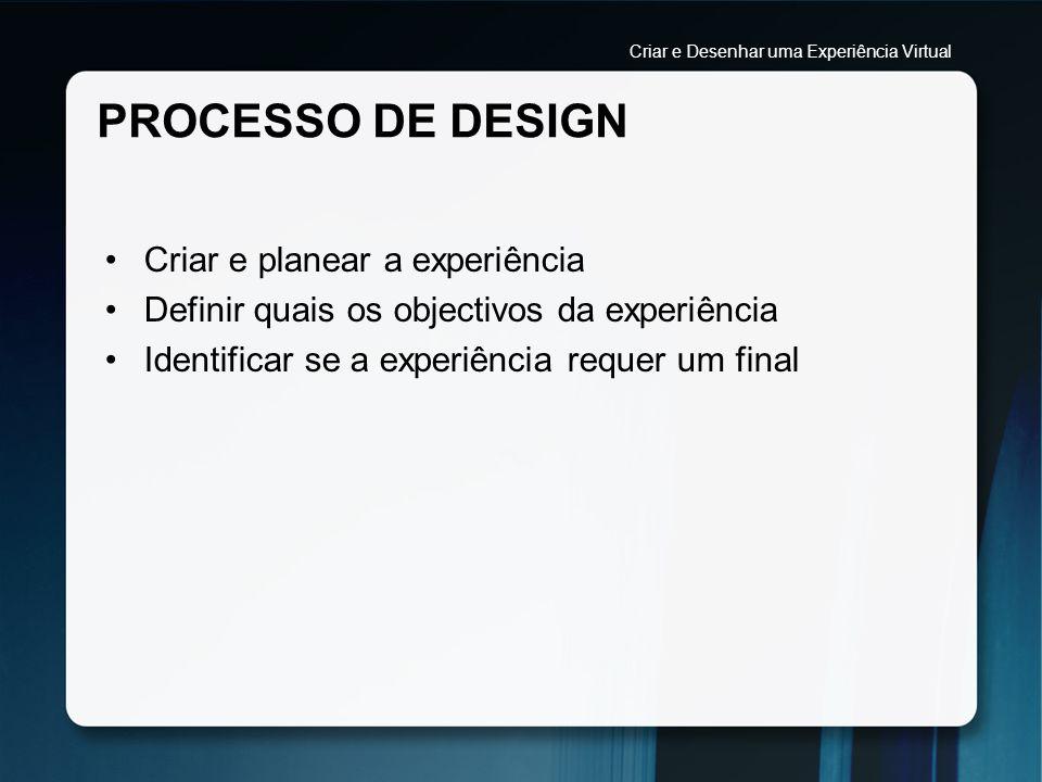 PROCESSO DE DESIGN Criar e planear a experiência