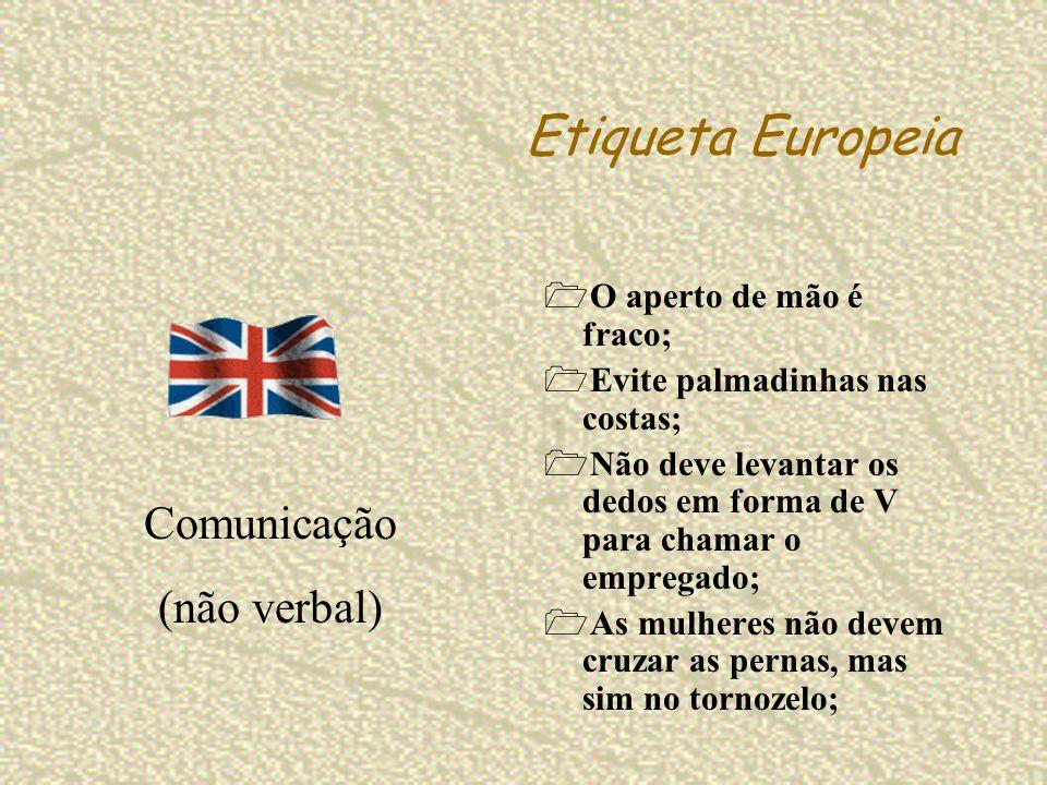 Etiqueta Europeia Comunicação (não verbal) O aperto de mão é fraco;