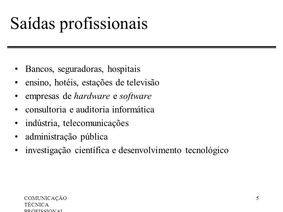 Saídas profissionais Bancos, seguradoras, hospitais