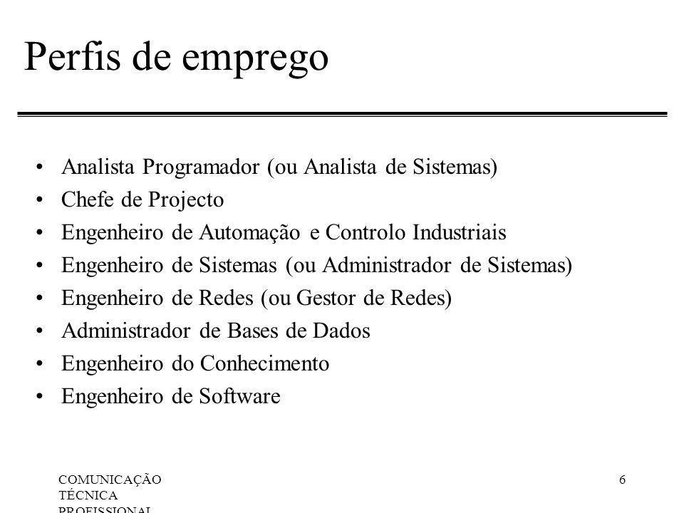 Perfis de emprego Analista Programador (ou Analista de Sistemas)