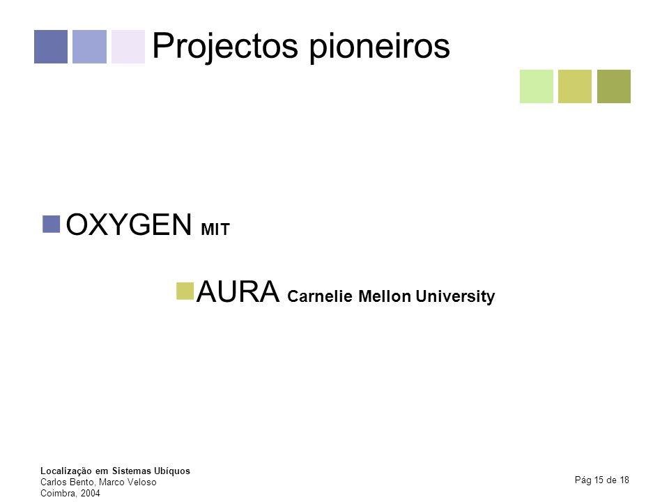 Projectos pioneiros OXYGEN MIT AURA Carnelie Mellon University
