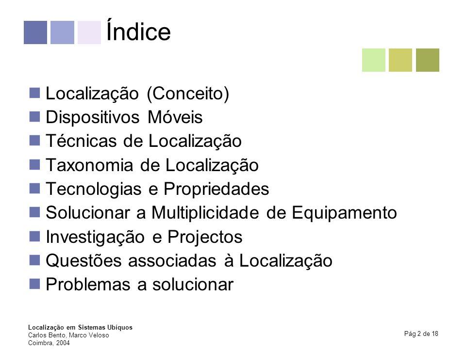 Índice Localização (Conceito) Dispositivos Móveis