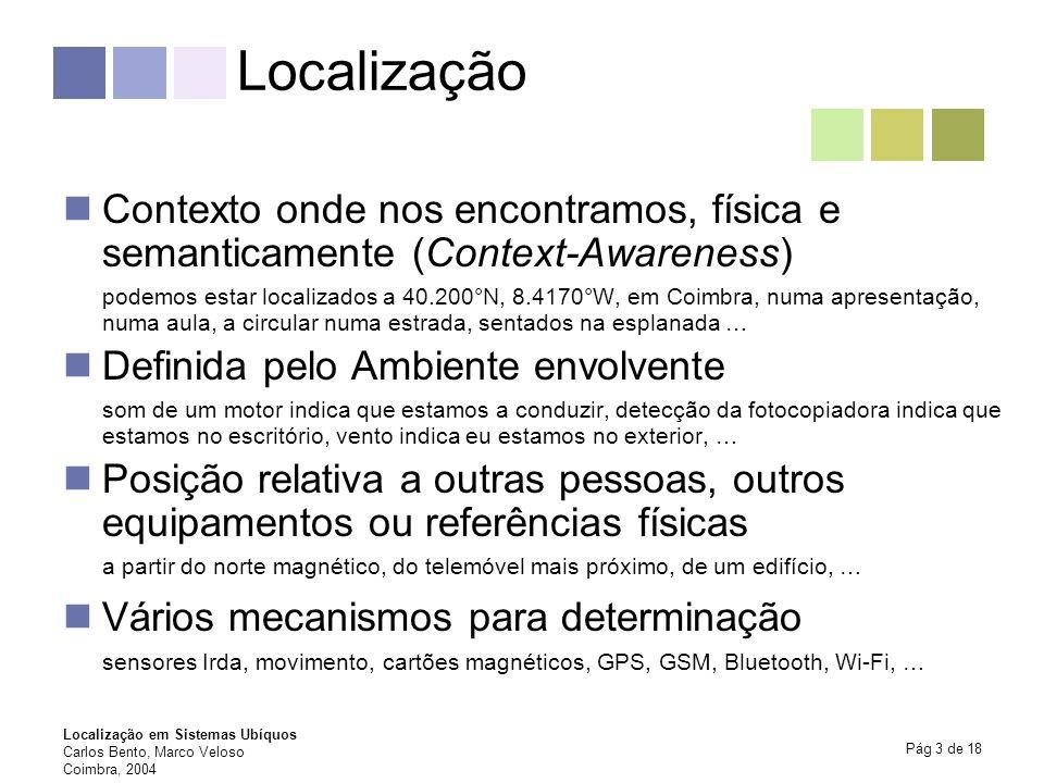Localização Contexto onde nos encontramos, física e semanticamente (Context-Awareness)