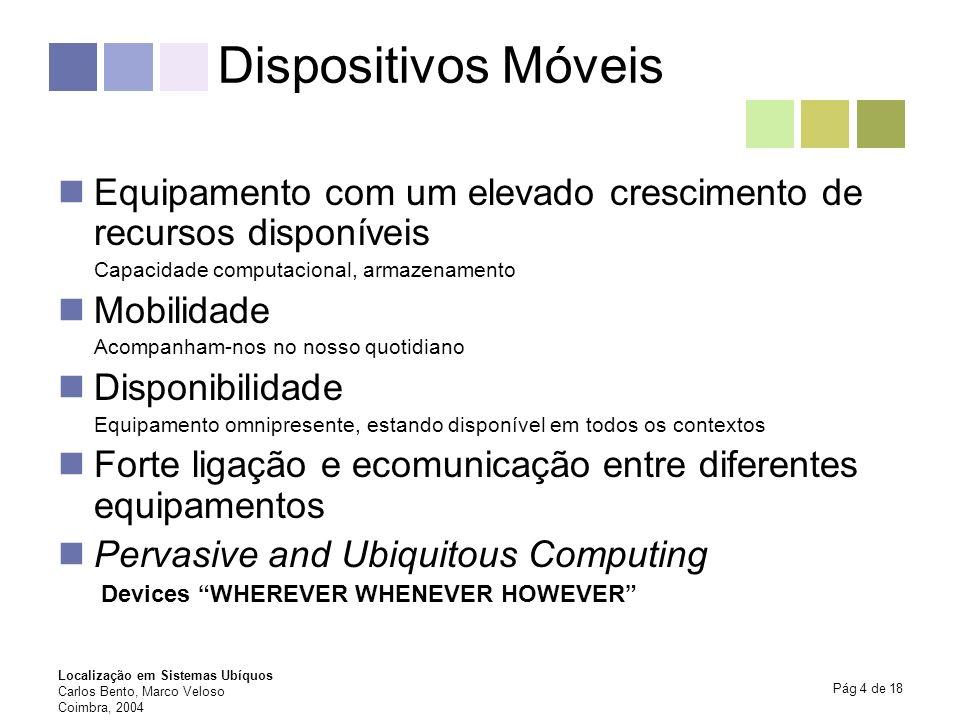 Dispositivos Móveis Equipamento com um elevado crescimento de recursos disponíveis. Capacidade computacional, armazenamento.