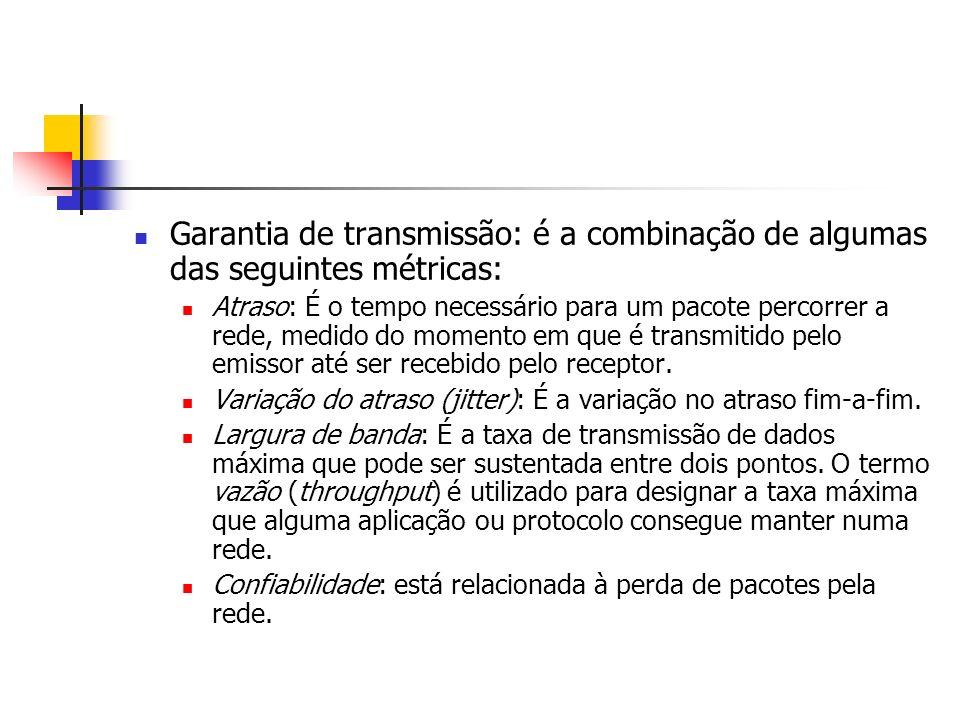 Garantia de transmissão: é a combinação de algumas das seguintes métricas: