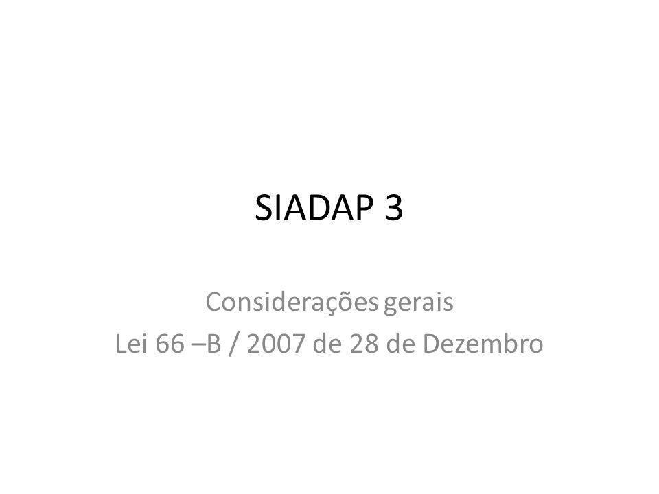 Considerações gerais Lei 66 –B / 2007 de 28 de Dezembro