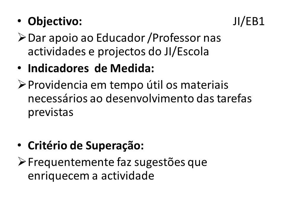 Objectivo: JI/EB1 Dar apoio ao Educador /Professor nas actividades e projectos do JI/Escola.