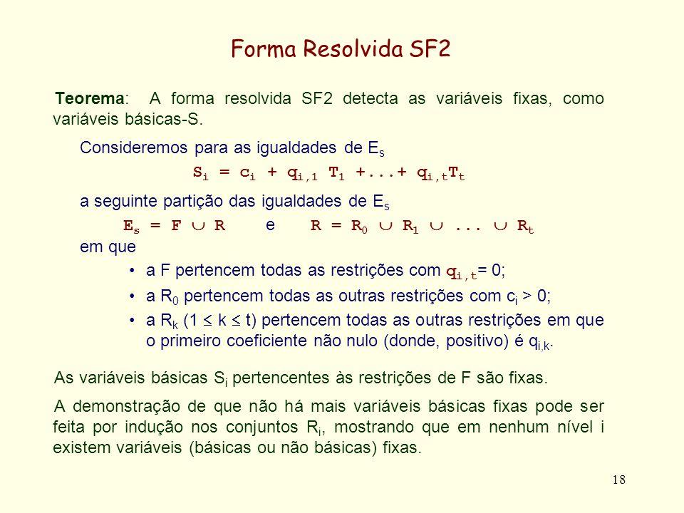 Forma Resolvida SF2 Teorema: A forma resolvida SF2 detecta as variáveis fixas, como variáveis básicas-S.