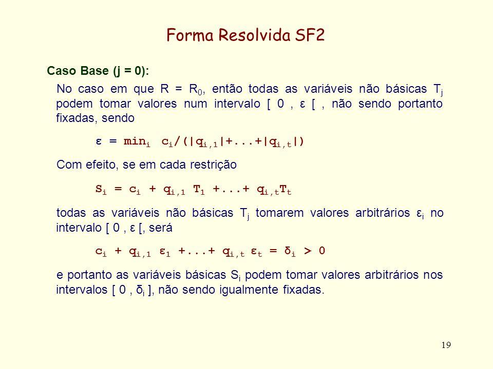 Forma Resolvida SF2 Caso Base (j = 0):