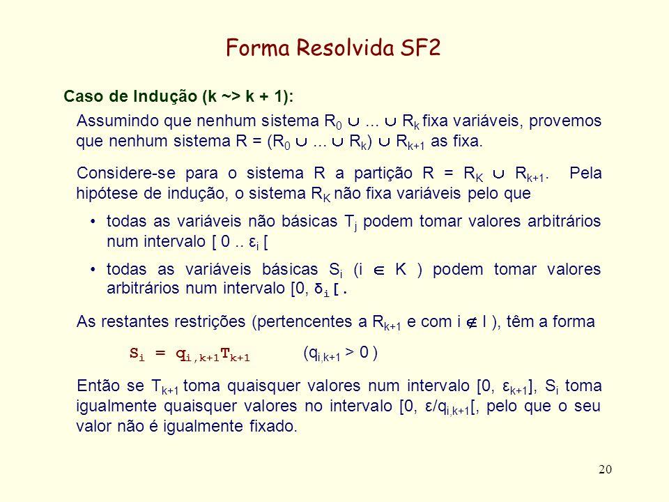 Forma Resolvida SF2 Caso de Indução (k ~> k + 1):