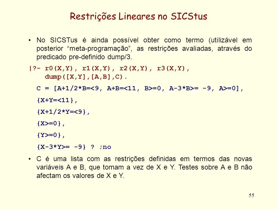 Restrições Lineares no SICStus