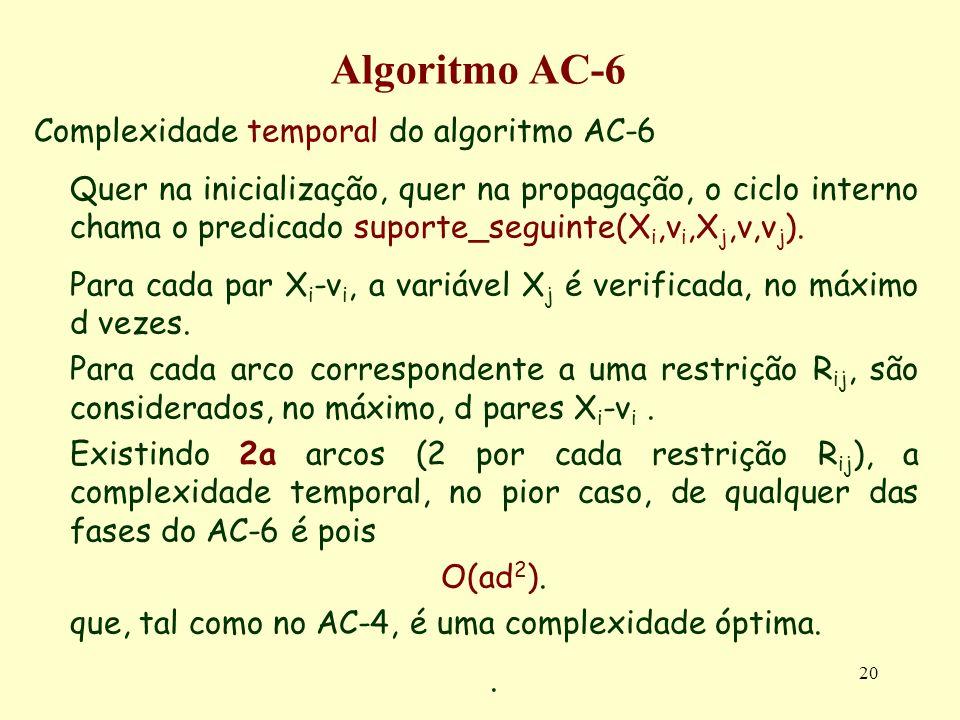 Algoritmo AC-6 Complexidade temporal do algoritmo AC-6