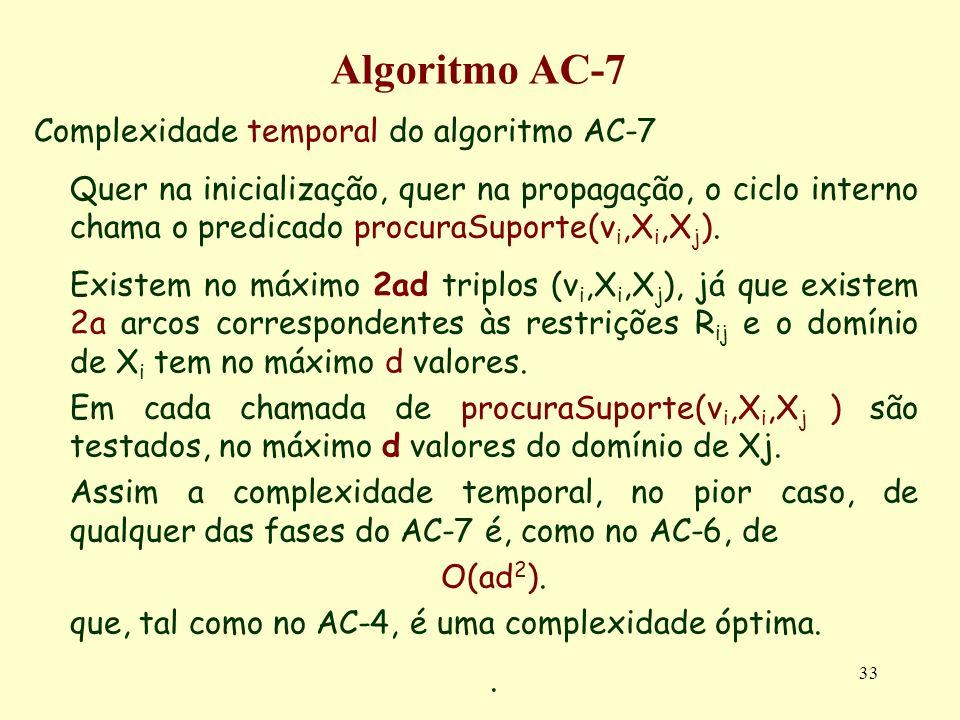 Algoritmo AC-7 Complexidade temporal do algoritmo AC-7