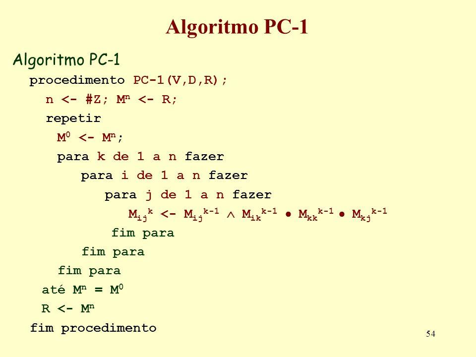 Algoritmo PC-1 Algoritmo PC-1 procedimento PC-1(V,D,R);