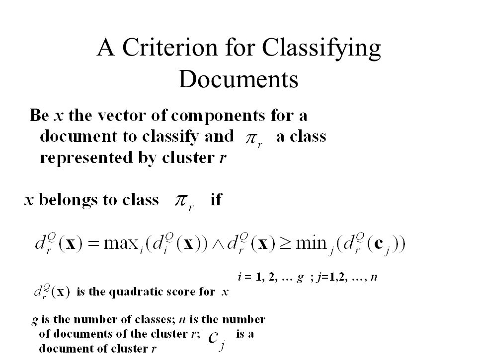 A Criterion for Classifying Documents