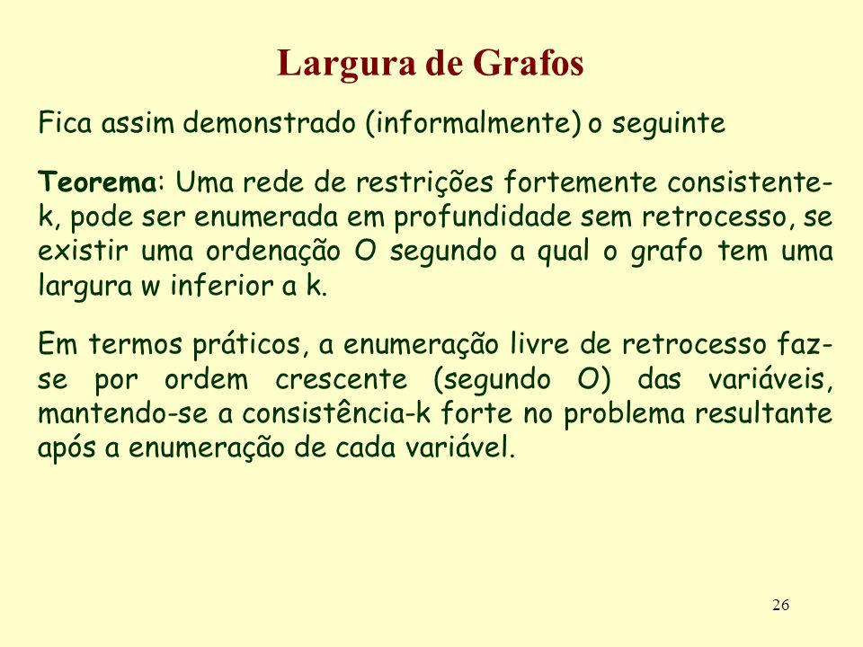 Largura de Grafos Fica assim demonstrado (informalmente) o seguinte