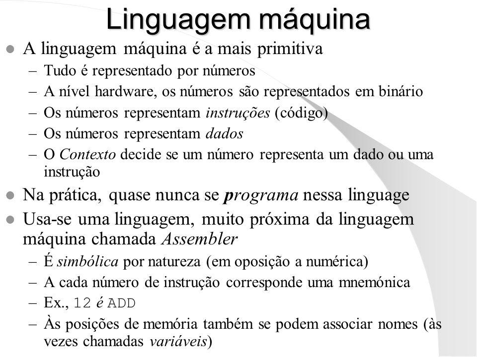 Linguagem máquina A linguagem máquina é a mais primitiva