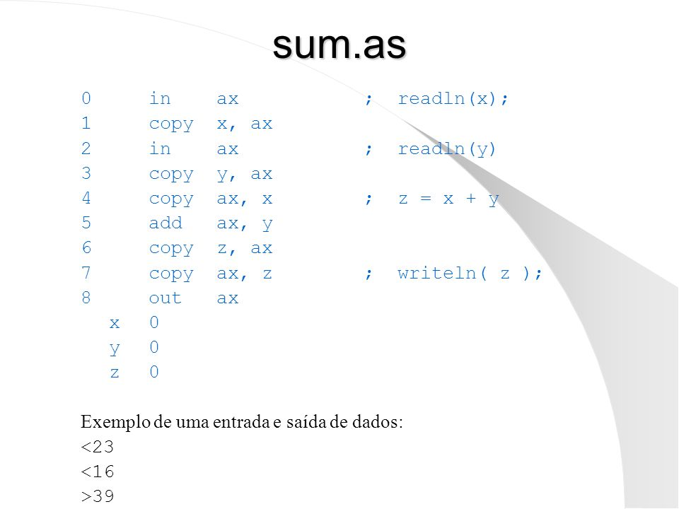 sum.as 0 in ax ; readln(x); 1 copy x, ax 2 in ax ; readln(y)