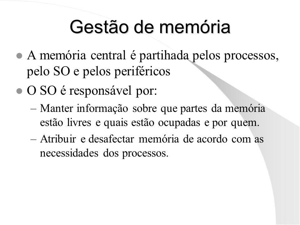 Gestão de memória A memória central é partihada pelos processos, pelo SO e pelos periféricos. O SO é responsável por: