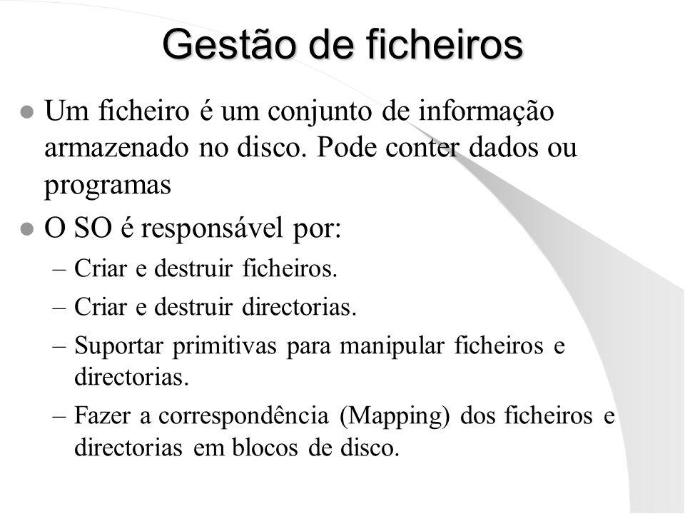 Gestão de ficheiros Um ficheiro é um conjunto de informação armazenado no disco. Pode conter dados ou programas.