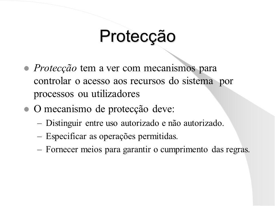 Protecção Protecção tem a ver com mecanismos para controlar o acesso aos recursos do sistema por processos ou utilizadores.