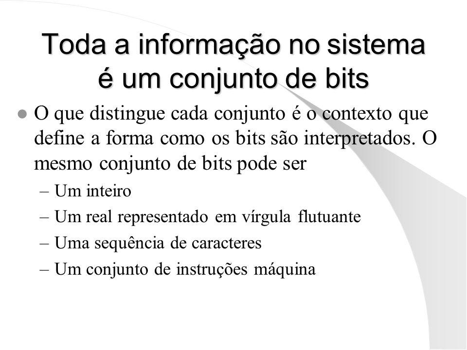 Toda a informação no sistema é um conjunto de bits
