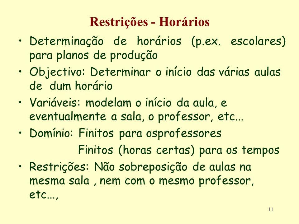 Restrições - Horários Determinação de horários (p.ex. escolares) para planos de produção.