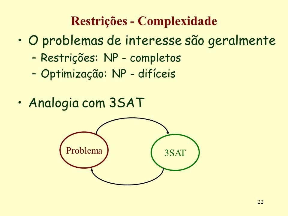 Restrições - Complexidade