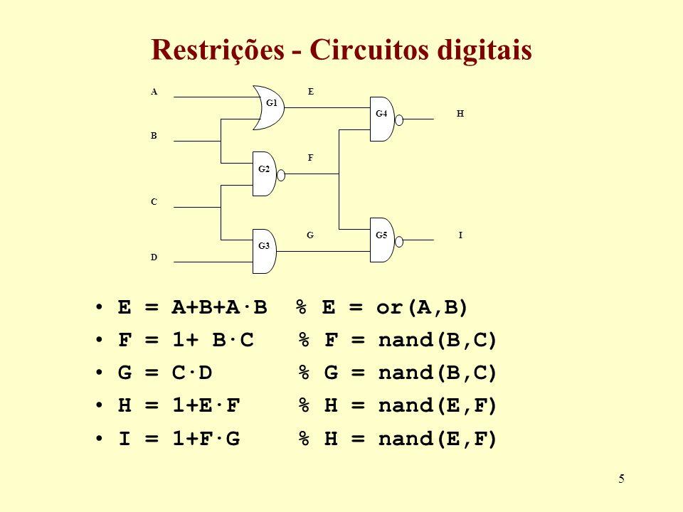 Restrições - Circuitos digitais