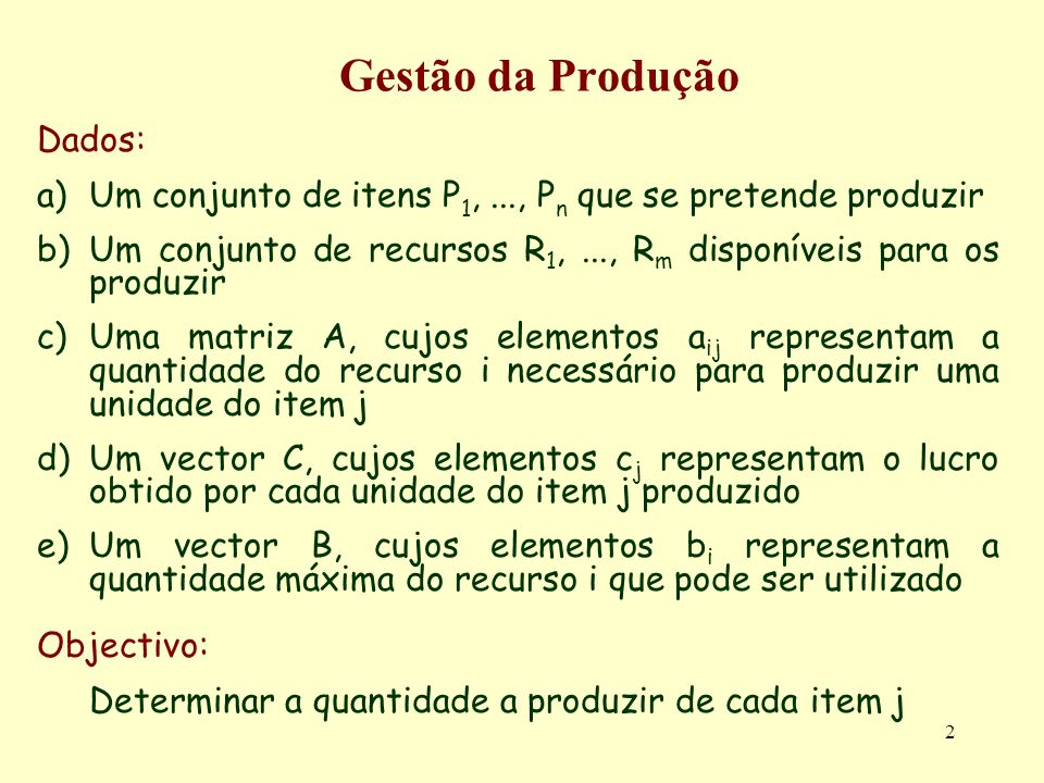 Gestão da Produção Dados: