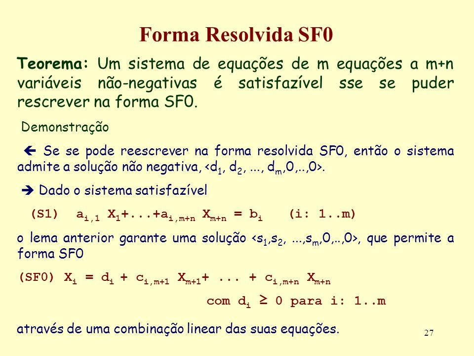 Forma Resolvida SF0 Teorema: Um sistema de equações de m equações a m+n variáveis não-negativas é satisfazível sse se puder rescrever na forma SF0.