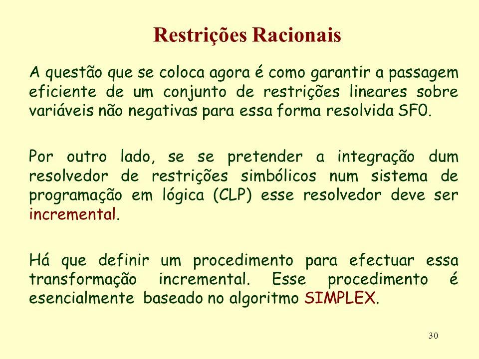 Restrições Racionais