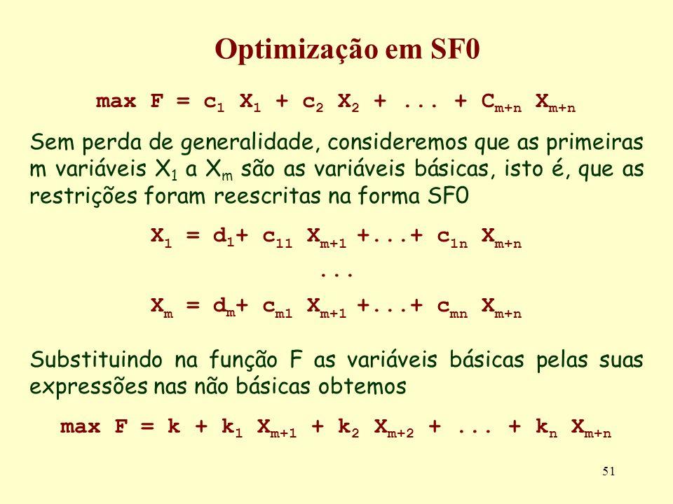 Optimização em SF0 max F = c1 X1 + c2 X2 + ... + Cm+n Xm+n