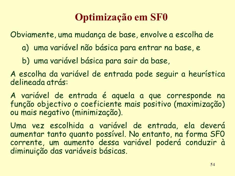 Optimização em SF0 Obviamente, uma mudança de base, envolve a escolha de. uma variável não básica para entrar na base, e.