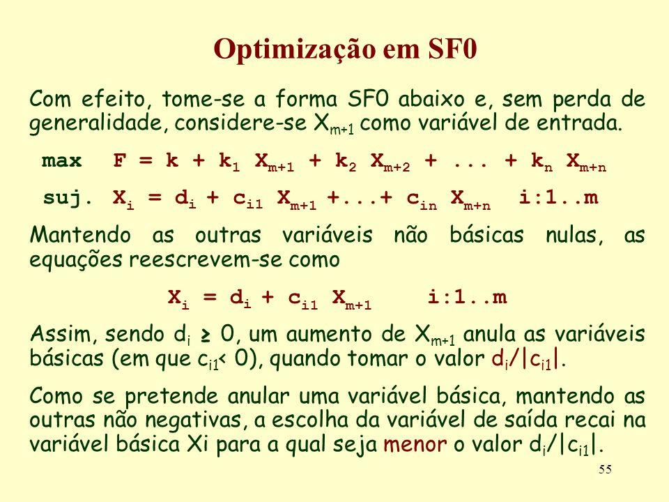 Optimização em SF0Com efeito, tome-se a forma SF0 abaixo e, sem perda de generalidade, considere-se Xm+1 como variável de entrada.