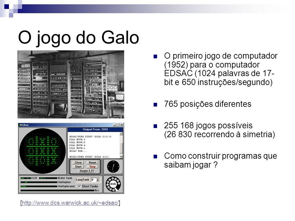 O jogo do Galo O primeiro jogo de computador (1952) para o computador EDSAC (1024 palavras de 17-bit e 650 instruções/segundo)