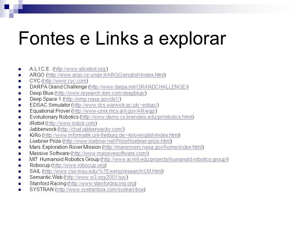 Fontes e Links a explorar