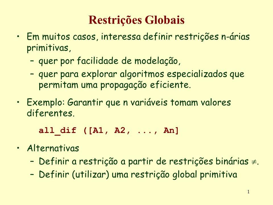 Restrições GlobaisEm muitos casos, interessa definir restrições n-árias primitivas, quer por facilidade de modelação,